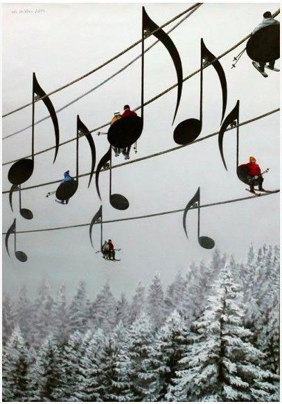 Fun Stuff / :): Chair, Musicals, Stuff, Musical Ski, Ski Lift, France, Music Notes