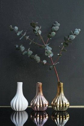 Set of 3 Ribbed Vases - Gold, White and Copper