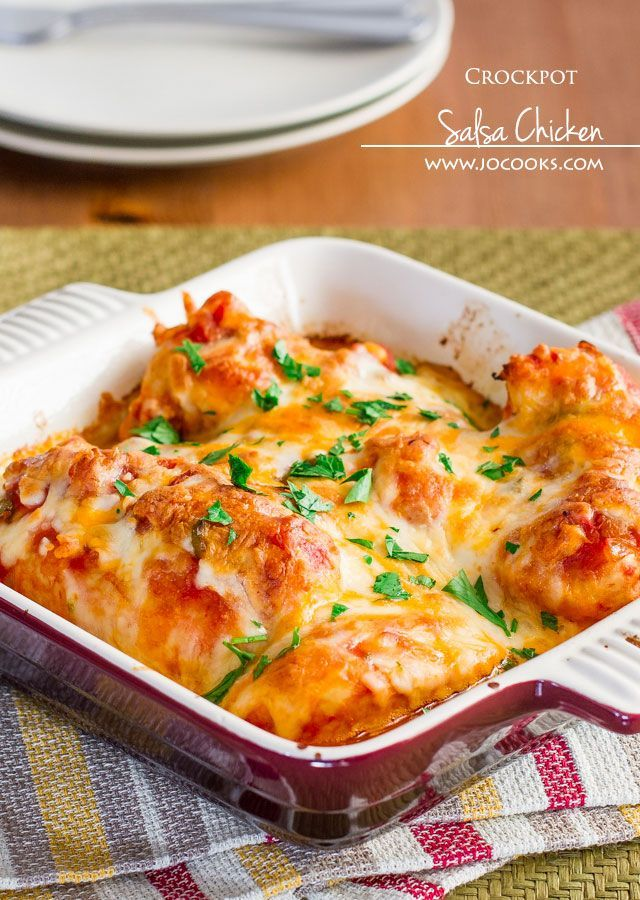 Salsa Chicken or bake in oven at 375 for about 30 to 45      6 chicken breasts, boneless, skinless     1 jar mild salsa (about 2 cups)     1 cup shredded cheese, Mexican blend