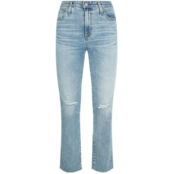 AG Jeans Isabelle Straight Girlfriend Jeans ($345) ❤ liked on Polyvore featuring jeans, high waisted ripped jeans, high waisted blue jeans, denim jeans, blue denim jeans and high waisted denim jeans