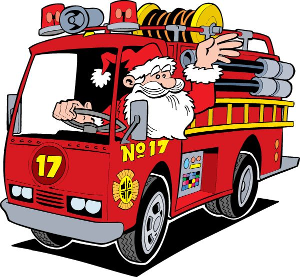 Santa On Fire Truck Clipart With Images Fire Trucks Fire