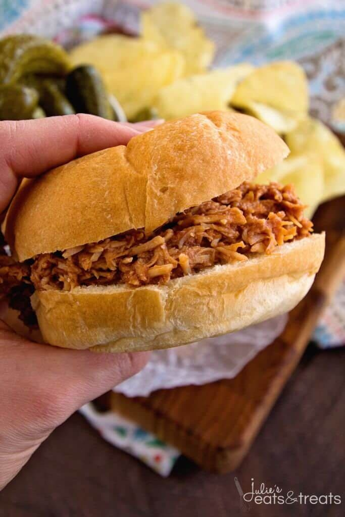 Crock Pot Smokey BBQ Shredded Chicken Sandwich Recipe