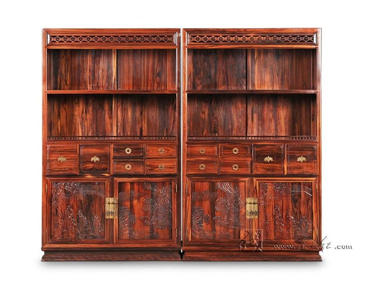Cupboard in landscape painting Antique Solid wood Bookcase Rosewood Sark With Storage Cabinets Living Room Office Book Shelves  #Affiliate