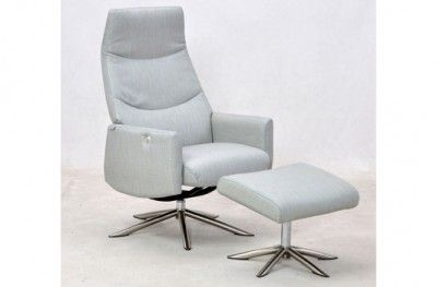La Rosa hvilestol stuffed armchair light grey with footrest danish design hjort knudsen www.helsetmobler.no