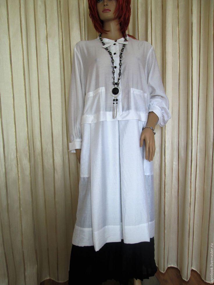 Купить Туника-рубашка белая - белый, однотонный, туника, туника из хлопка, рубашка, рубашка из хлопка