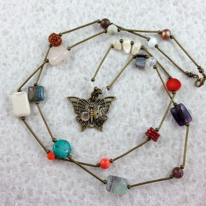Steampunk Inspired Butterfly Pendant Long Necklace