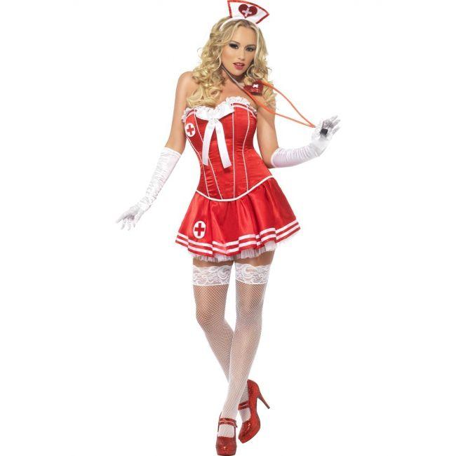 Sexy zuster kostuum rood voor dames. Sexy zusters kostuum dat bestaat uit het rode korset en tutu rokje.