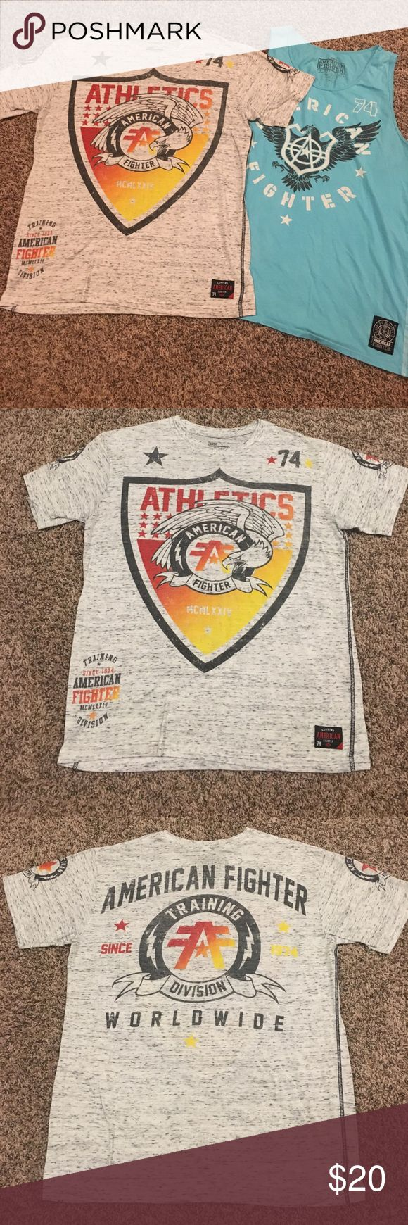 Set of 2 American Fighter Tees Large Set of 2 Men's American Fighter by Affliction from the Buckle shirts. One is a marble gray shirt sleeved shirt and the other is a solid turquoise tank. Great condition! American Fighter Shirts Tees - Short Sleeve