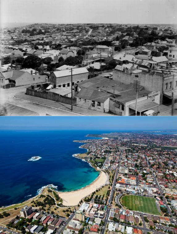 Coogee, Sydney 1920s and now