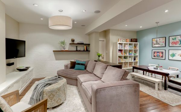 How To Design Lighting In A Room Without Windows: Off whites and light browns in a basement preventing from becoming oppresive