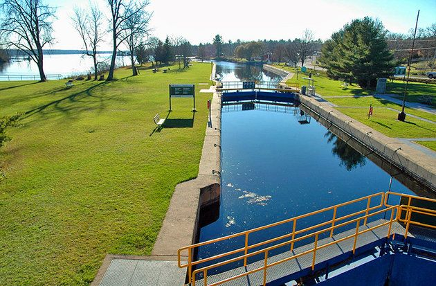 Trent-Severn Waterway - a canal route traversing Southern Ontario cottage country & a National Historic Site of Canada administered by Parks Canada. Formerly used for industrial & transportation, it's maintained for recreational boating & tourism. The Waterway connects 2 of the Great Lakes Ontario & Huron with an eastern terminus @ Trenton & western terminus @ Port Severn. Major waterways include the Trent River, Otonabee River, Kawartha lakes, Lake Simcoe, Lake Couchiching & the Severn…