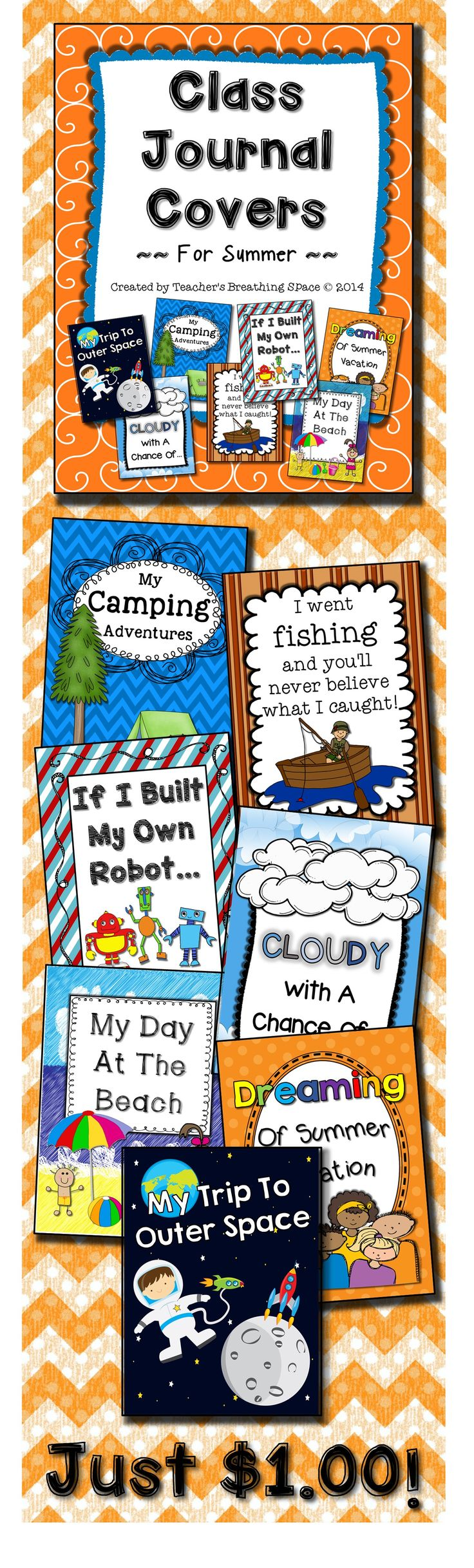 Whole Class Journal Covers for Summer --- Writing Topics for May, June and July --- Just $1.00 for the set!