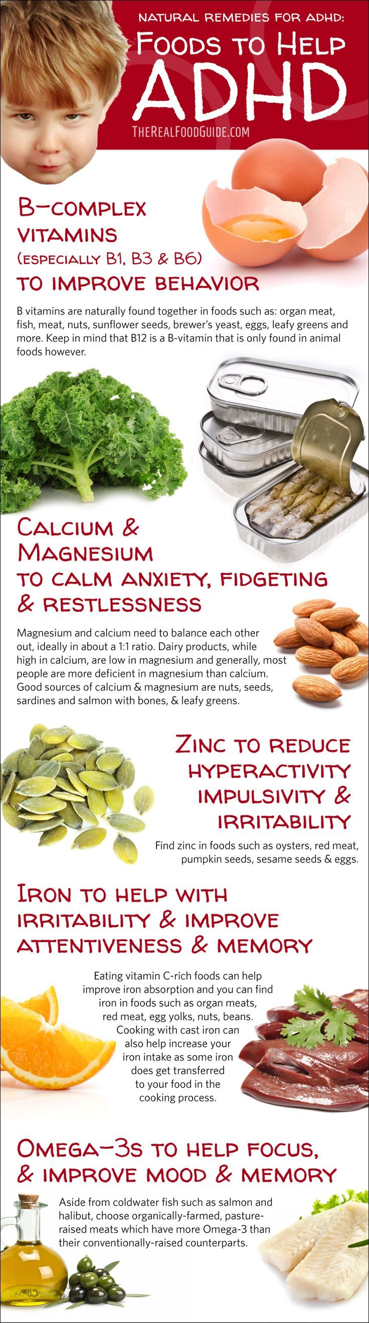 ADHD Home Remedies - How to Treat ADHD Naturally Natural Remedies for ADHD: Foods to Help ADHD infographic B-complex vitamins, calcium, magnesium, zinc, iron, omega-3s