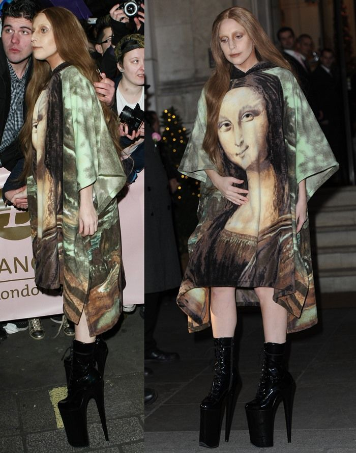 Lady Gaga exited the prestigious Langham hotel in London wearing a vintage mini dress featuring a screen-painted version of Leonardo da Vinci's famous half-length portrait of Mona Lisa.