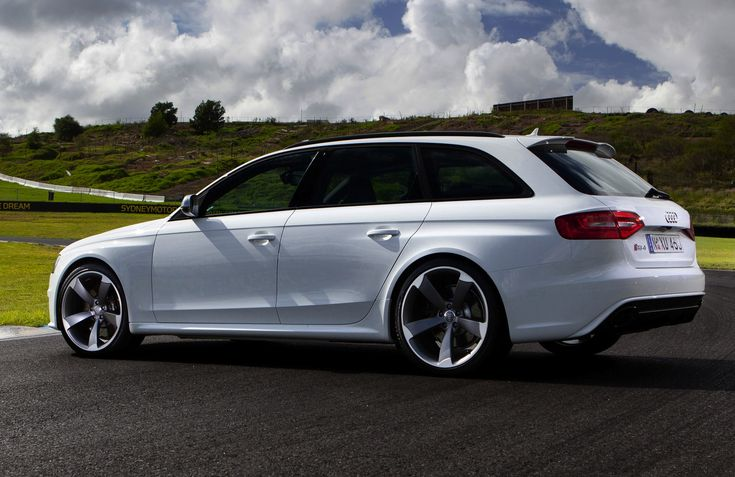 Audi RS4 Avant in white looking wide.