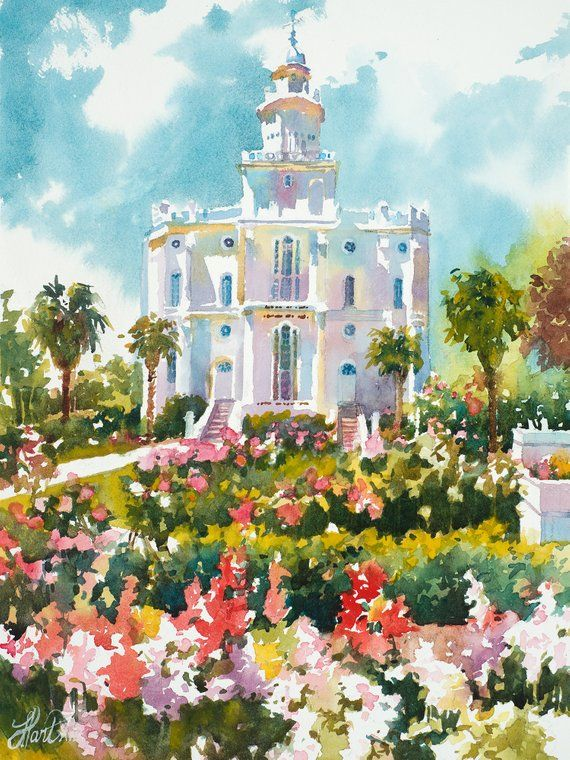 St George Utah Lds Temple Lds Temple Temple Watercolor St