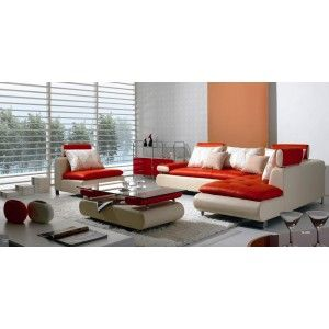 B 205 Modern Red And White Leather Sectional Sofa Set Living RoomsLiving