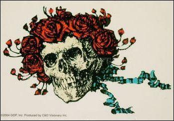 Grateful Dead - Bertha - Clear Window Sticker Skull Roses Flower Crown