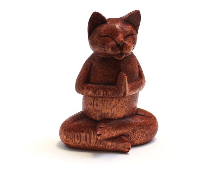 Breathe... Zen Cat in Meditation - Handcrafted in Bali