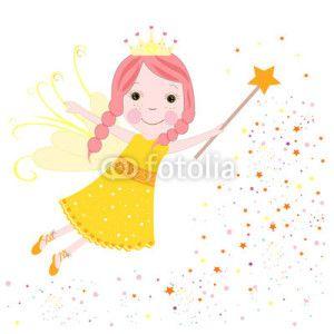 Peri Kızı Vektör Tasarımlarım * Cute fairytale yellow stars shining vector