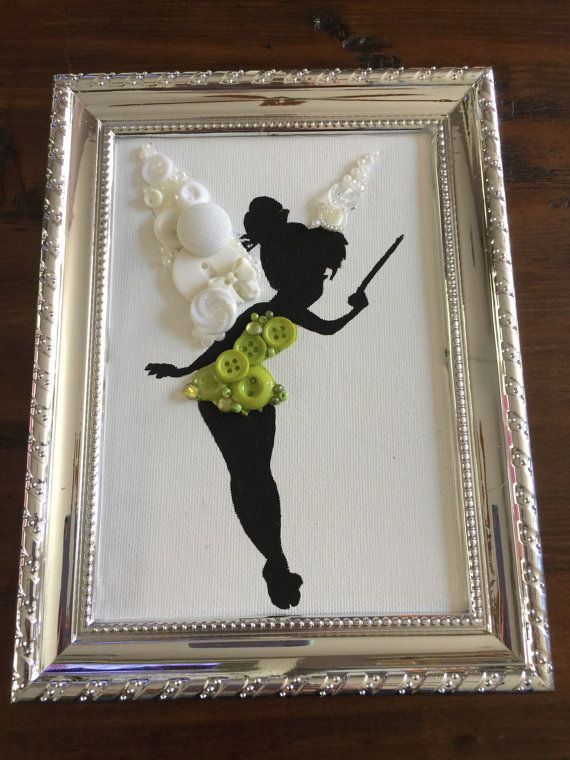 Button art Princess canvas board Tinkerbell by designed4her