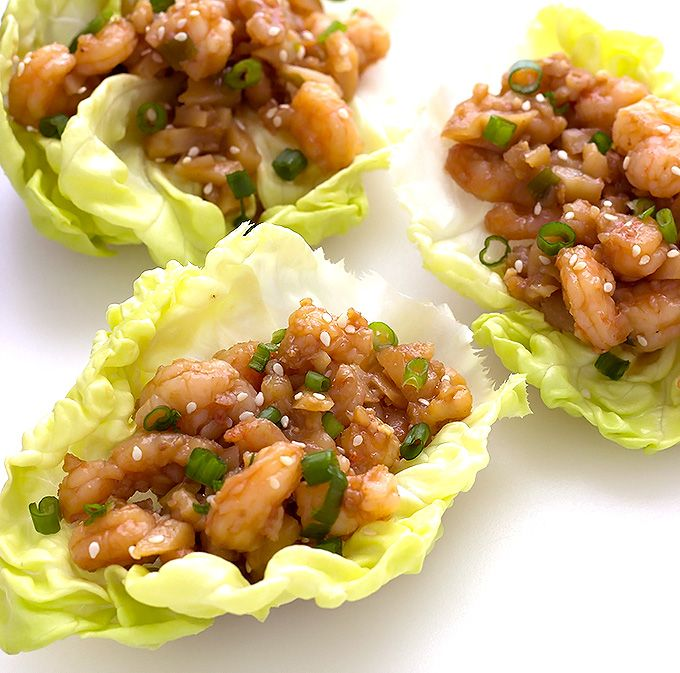 Hoisin Shrimp Lettuce Wraps are full of shrimp and a sweet and tangy Asian inspired sauce. They're light and tasty with great crunchy texture.