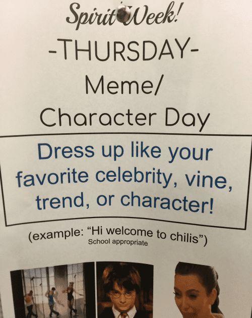Spirit Week Thursday Meme Día del personaje Vestirse como el estilo de una cele…