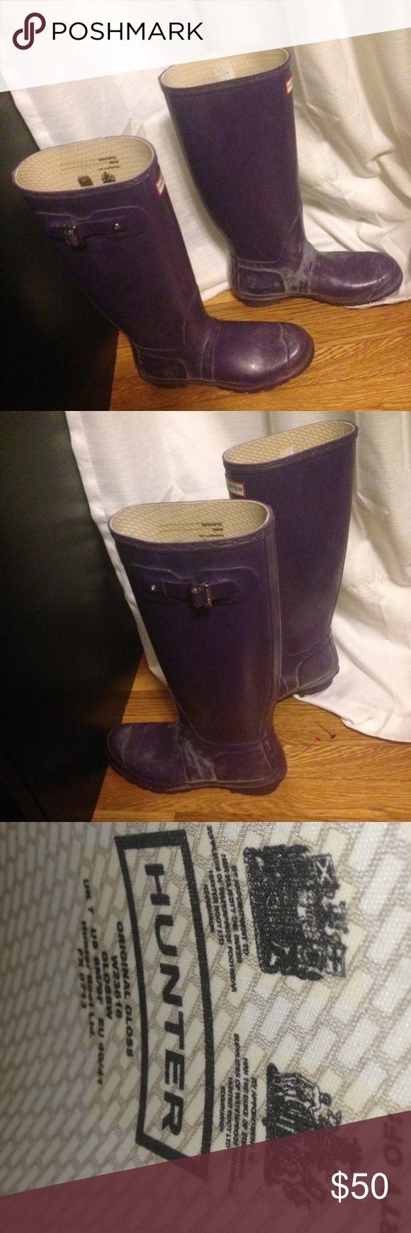 Hunter 9 purple Wellies rain boots EUC Nice boots. Gently worn in good  condition. Buckles intact. Hunter Boots Shoes Winter & Rain Boots