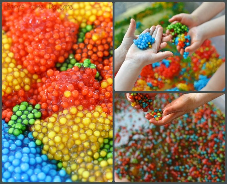 we are exploring dyed tapioca pearls in our sensory table today a completely edible version of water beads although would you believe not even one of the