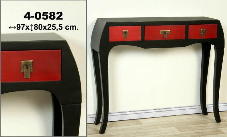 Muebles orientales recibidor oriental negro y rojo for Muebles orientales online