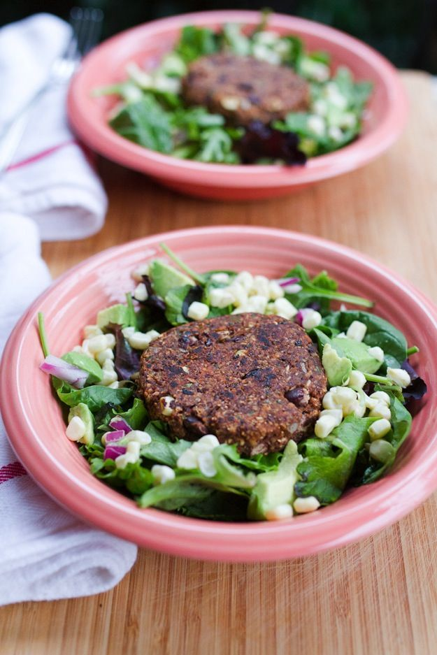 Spicy Chili Black Bean Burger over Salad