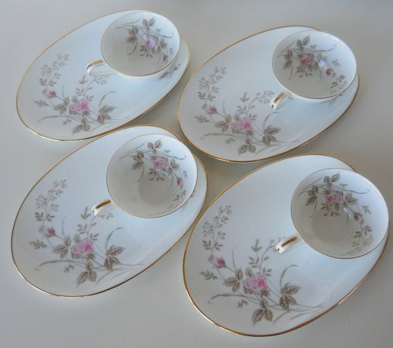 RESERVED ------ Vintage Noritake China Luise Snack Plates and Cups Set of Four & 33 best Vintage Snack Plates that I own want or love images on ...