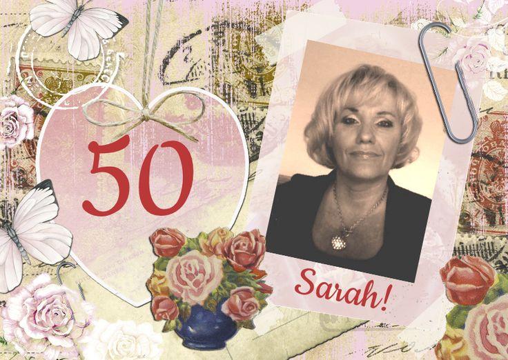 Sarah vintage hart, verkrijgbaar bij #kaartje2go voor €1,89