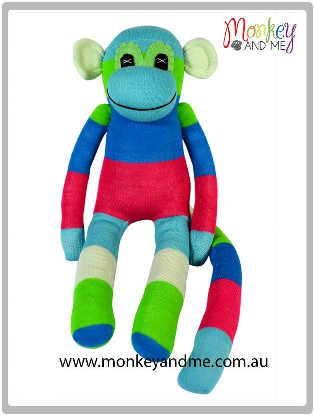 Aqua Blue Pink Green White wide stripe Sock Monkey Adopt over at monkeyandme.com.au #sockmonkeys #gifts #toys #monkey