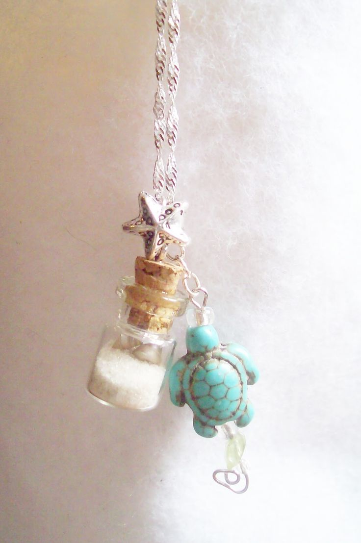 Southern OOAKS mermaid jewelry design. Sand and shells found on one of our beach walks in tiny glass vial.