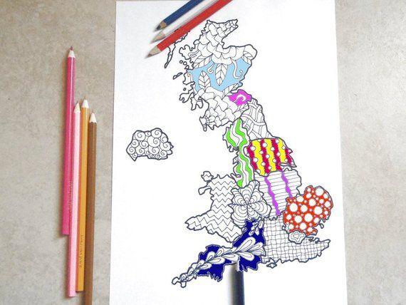 Regno Unito Cartina Da Colorare.Cartina Regno Unito Da Stampare E Colorare Per Adulti Gran Etsy Etsy Pennarelli Regno Unito