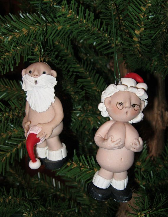 Mr & Mrs Naughty Santa Claus Polymer Clay Christmas