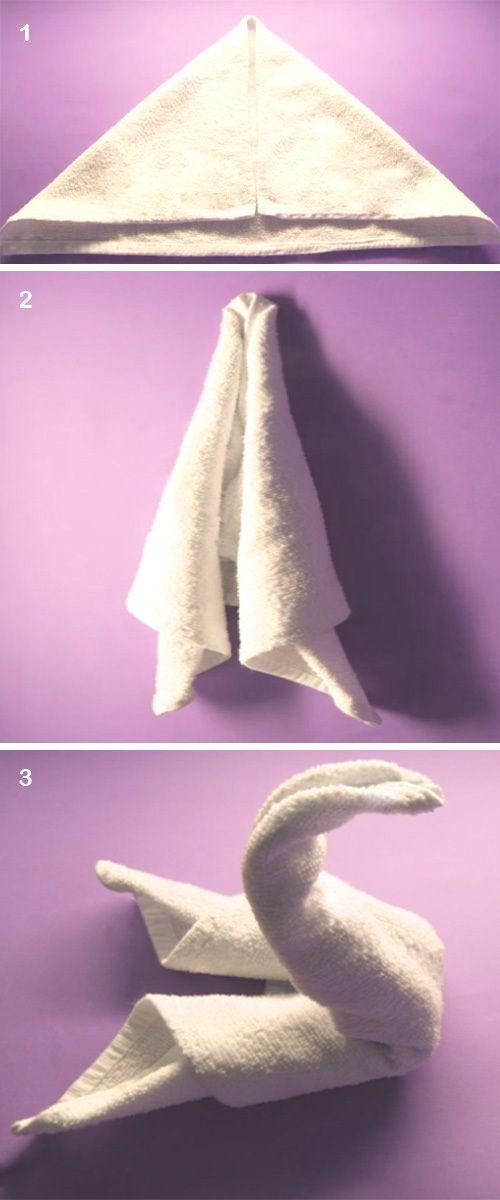 Como hacer un cisne sencillo de toalla, DIY