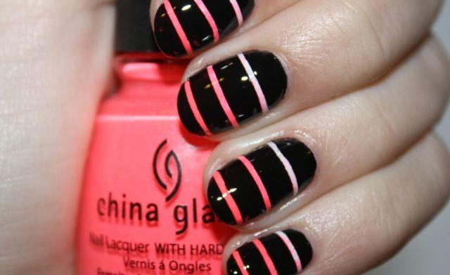 Gradient stripes: Nails Art Tutorials, Nails Design, Pink Nails, Shorts Nails, Black Nails, Nails Ideas, Stripes Nails, Easy Nails, Diy Nails