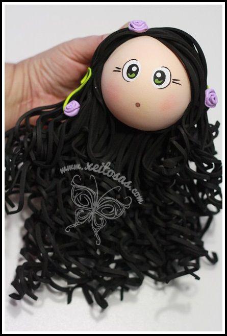 Peinado fofucha morena con rizos  www.xeitosas.com