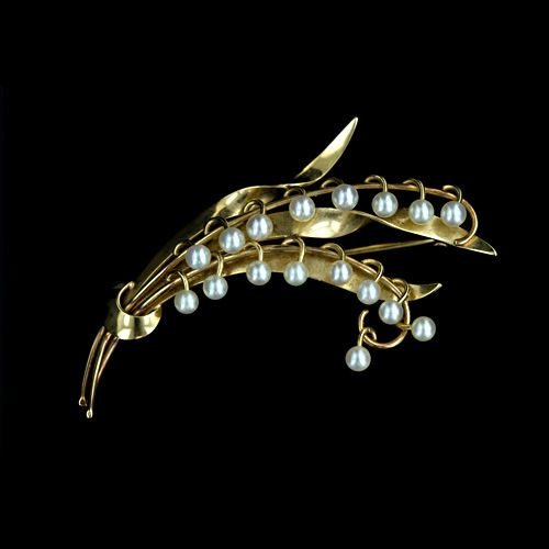 Vintage Lily of the Valley Pearl Brooch  The sweetest bouquet of lily's of the valley rendered in 14 karat yellow gold and petite cultured pearls.