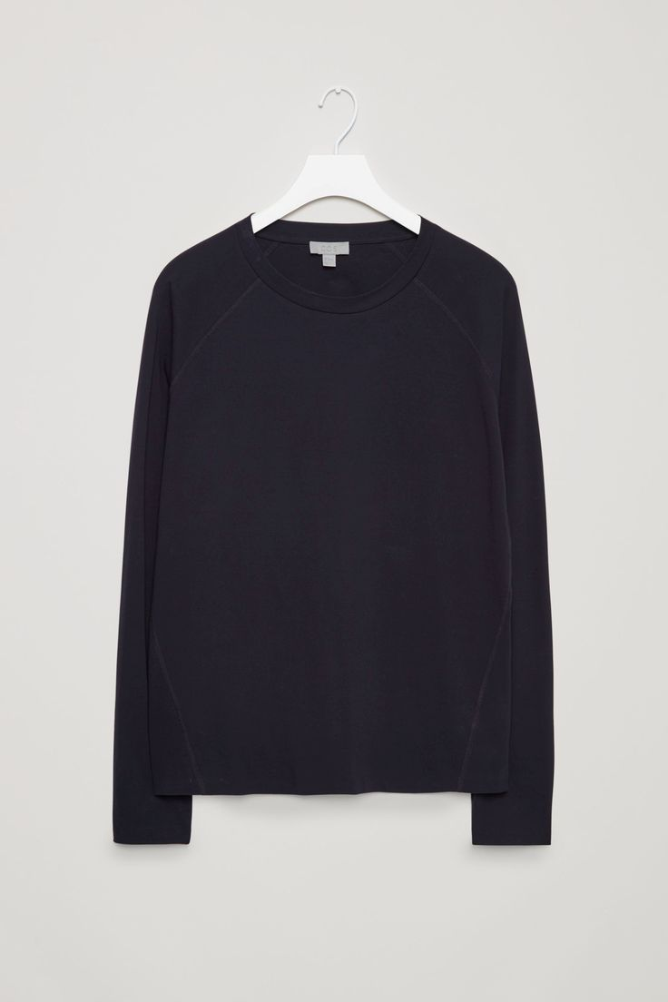 COS image 4 of Long-sleeve jersey t-shirt in Dark Blue
