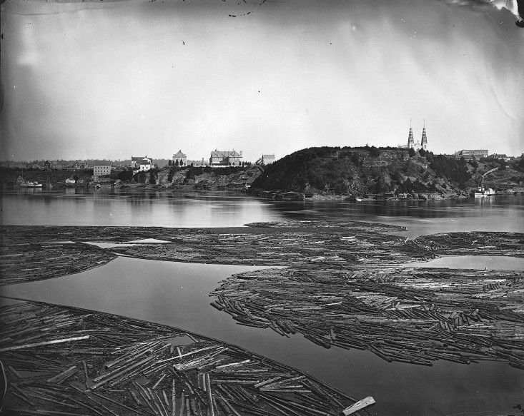Timber on the Ottawa River in 1872. Timber was the biggest industry at the time.