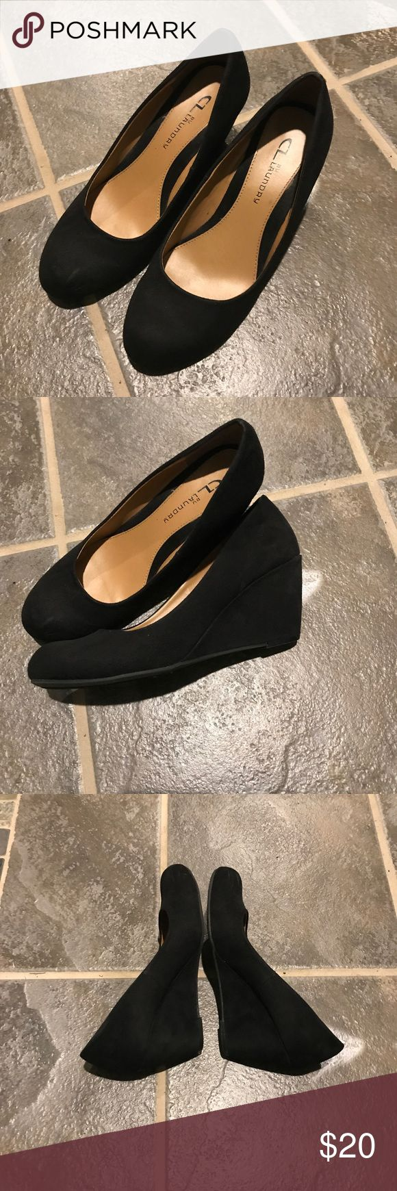 Black wedges Cute black wedges perfect for a night out or wedding. Worn for a few occasions. Great condition no signs of wear. Chinese Laundry Shoes Wedges