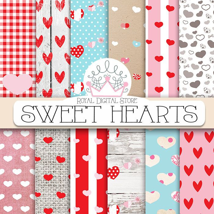 "Hearts digital paper: #SWEET HEARTS"" with #heart #pattern, heart #scrapbook paper in red, pink, white for scrapbooking, cards, #valentine #digitalpaper #red #pink #scrapbookpaper #shabbychic #partysupplies #planner #romantic"
