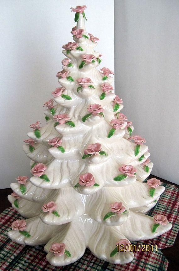 Large Vintage White Christmas Tree Pink Roses by BackRoadBuddies
