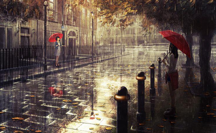 2girls building city dark dress leaves natsu3390 original rain reflection scenic shorts tree umbrella water