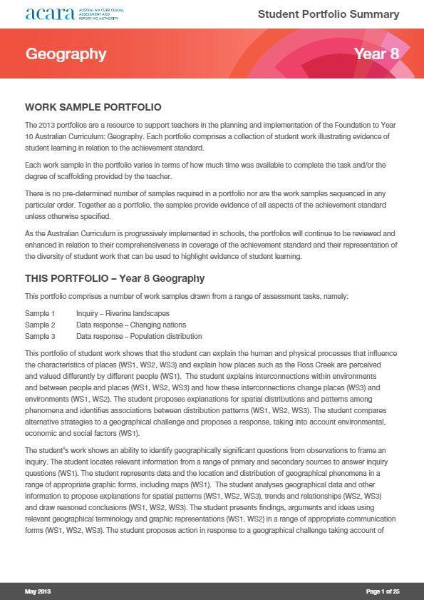 Year 8 Geography work sample portfolio -