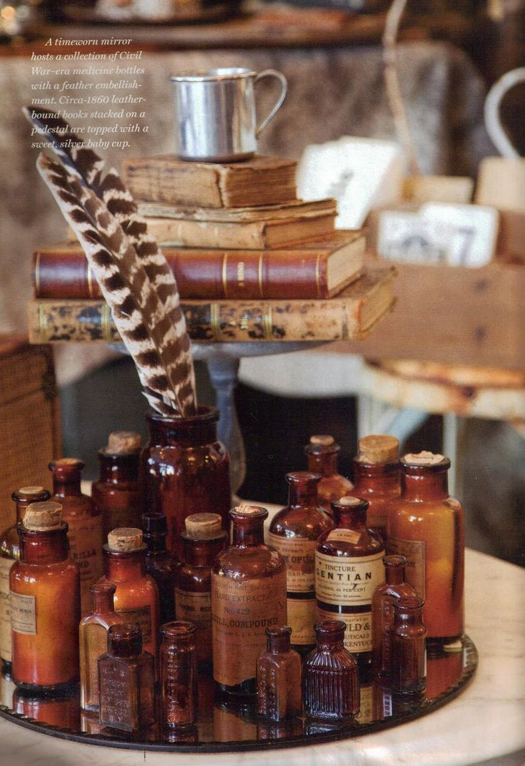 Antique bottles and antique books and feather...                                      ****