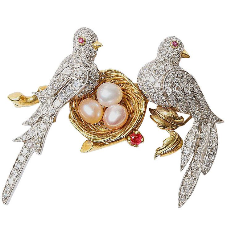 Diamond Encrusted Doves Nesting Brooch  USA  Circa 1940s  18kt yellow and white ...